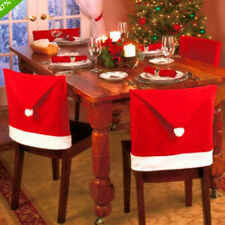 4Pcs Xmas Red Santa Clause Hat Cap Chair Back Covers Sets Dinner Party Decor Hot