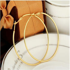 New Vogue Smooth 14K Yellow Gold Filled Womens Hoop Earrings Fashion Jewelry T