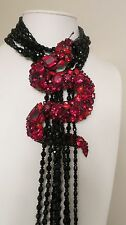 "Chris Crouch's Moans ""Vrba Protégé"" Red Black Crystal Snake Necklace Brooch"