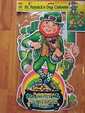 "1999 Beistle 3 Pack 18"" Leprechaun St Patrick Diecuts Cutouts Decoration NOS"