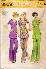1972 UNCUT Simplicity Pattern 9959 Tunic with Three Necklines & Pants in Half Sz