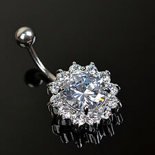 Flower Steel Zircon Crystal Navel Belly Ring Button Bar Body Piercing Jewelry