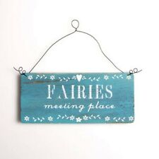 Sass and Belle - Fairies Meeting place Hanging Decoration, Blue Wooden Sign