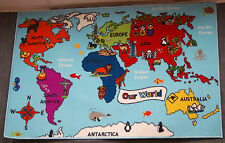 Kids Map of the World Play Mat 100x150 Childrens Rug Atlas Pictures Countries