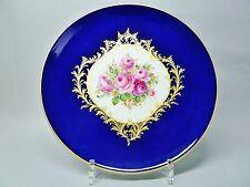 (g830) Meissen piatto muro, rose rosse e cobalto blu fondo oro, staffiert