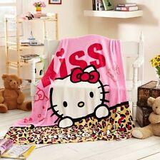 "Cute Anime Hello Kitty Soft Plush Flannel Blanket Throw Student Bedding 79""x59"""