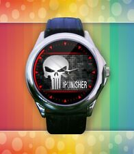 The Punisher Skull Unisex Round Metal Watch With Leather Watchband