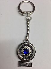Roman Victory BLUE Gem RVPP made of fine English Pewter on a snake keyring