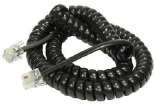 BLACK RJ10 Telephone Cable HI QUALITY Phone Handset Coiled Cord Spiral Wire 5m