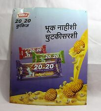 INDIAN OLD VINTAGE BEAUTIFUL UNIQUE BUTTER COOKIES 20-20 LITHO PRINT SIGN BOARD