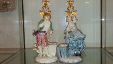 Pair of Beautiful German Antique Figural Candlesticks with Spill Holders C 1860+