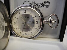 COLIBRI  SILVERTONE POCKETWATCH DATE NEW AS-IS