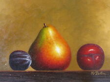 "Original Hand Painted ""Golden Fruits"" 12x16 Oil Painting Food Art"
