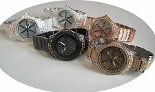 Men's Assorted designer style hip hop bling floating stones fashion Raper watch