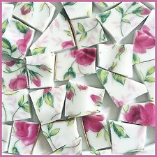 "65 BROKEN CHINA MOSAIC TILES~ 1/2"" Pink ROSE ENGLISH Floral CHINTZ Flowers"