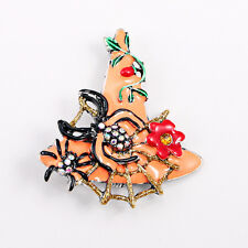 Orangle Enamel Witch's Hat Crystals Spider Flower Pin Brooch
