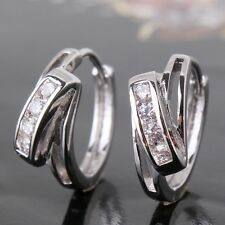New arrival! 18k white gold filled white sapphire noble Huggie earring