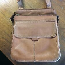 Fossil Leather Camera Shoulder Messenger Crossbody Bag Purse Tan Saddle Brown