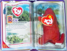"McDonald's Ty TEENIE Beanie Baby 2000 Dinosaur Trio ""REX"" Dino NEW on CARD!"