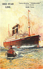 """Red Star Line Triple-Screw """"Pennland"""" Steam Ship Poster Type Vertical Postcard"""