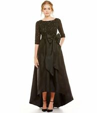 12 ADRIANNA PAPELL Black Beaded Bodice Taffeta High Low Ball Gown Dress NWT $349