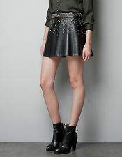NWT ZARA BLACK FAUX LEATHER GOLD STUD STUDDED MINI PEPLUM SKIRT SMALL S 8 4 34