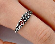 .925 Sterling Silver Ring size 5 Celtic Rose Leaf Heart Ladies Womens New pp49
