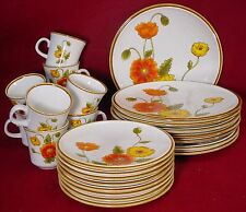 MIKASA china CALIFORNIA POPPIES Natural Beauty 32-pc SET SERVICE for EIGHT (8)