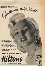 1953 HILTONE Hair Colour Featuring MARILYN MONROE  1/4 Page VINTAGE MAGAZINE AD