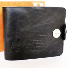 Branded & Stylish Men's Leather Wallet in Black Colour With Button (DKG-2)