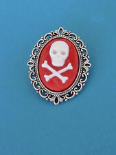 """1 1/2"""" Pirate Undead Style RED Skull &Cross'd Bones Cameo IN AN A.SP Brooch/Pin"""