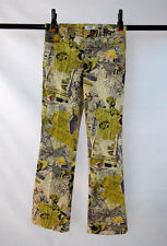 """Vtg MOSCHINO JEANS Graphic Print Boot Cut Pants 29 Low Rise Waist Meaures 30.5"""""""