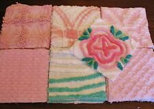 "36 VINTAGE CHENILLE BEDSPREAD 6"" SQUARES FLOWER QUILT KIT PINK WHITE BABY"
