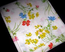 Vintage Colorful Floral FULL Size Flat Bed Sheet Made in USA by Fieldcrest