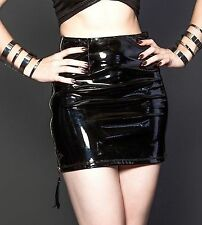 Sexy Black Glossy Faux Latex Look Skirt Silver Back Zip