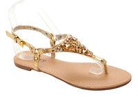 WOMENS GOLD DIAMANTE JEWEL TOE POST SUMMER BEACH FLAT SANDALS LADIES UK SIZE 3-8
