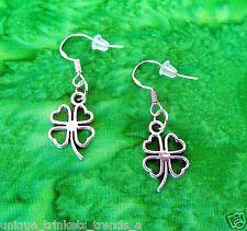 SILVER 4 FOUR LEAF CLOVER SHAMROCK EARRINGS~ST PATRICKS DAY GIFT~STERLING HOOK