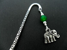 A TIBETAN SILVER GREEN JADE  BEAD  & ELEPHANT CHARM BOOKMARK. NEW.