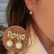 Damen Bogen Perlen Ohrringe Ohrhänger Ohrstecker Strass Bowknot Ohrschmuck FS