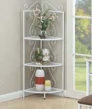 3-Tier Metal Corner Rack Wall Storage Display Shelves - White