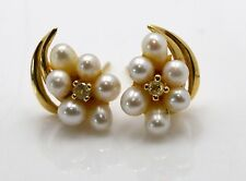 14K Yellow Gold Vintage Seed Pearls and Diamond Flower Design Earrings