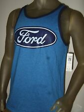 New Men's Large Blue Official Ford Motors Company Logo Symbol Tank Top Shirt L