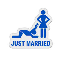 "Just Married Funny Cute Humor Bachelor Party Vinyl Car Sticker Decal 4"" x 4"""