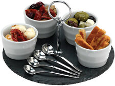 Grunwerg 9 Piece Slate Tapas And Porcelain Pots Serving Set - SLT-SET5
