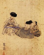 """Korean Art, A woman tuning a string instrument, Matted, 신윤복 8""""x10""""  syb5"""