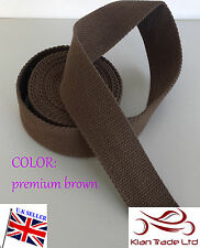 "Premium Brown color 50mm 2"" CANVAS Rainforce cotton Webbing tape Bag strapx1Yard"