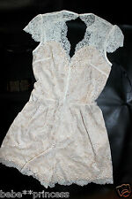 NWT bebe cream white overlay lace nude cutout back top dress romper Large L 10
