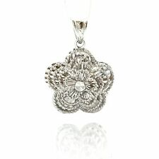 18K White Gold Five-Petal Flower Pendant 2.1 Grams