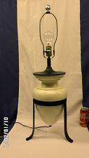 "854D Vtg Mid Century 30"" Table Lamp Ivory/Black Porcelain & Wrought Iron ATOMIC"