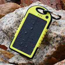 5000mAh Solar Power Bank Cargador Doble USB Portátil Impermeable para iPhone Sony